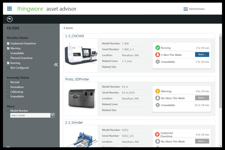 PTC-Apps für Kennzahlen und Maschinenüberwachung