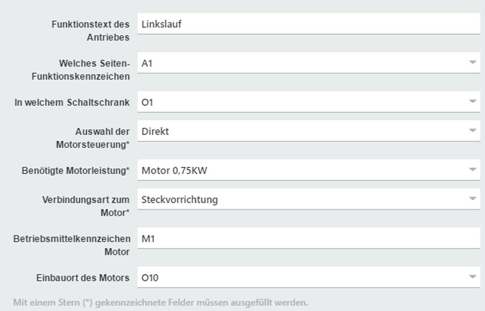 Über Mini-Konfiguratoren – hier am Beispiel einer Motorsteuerung – wählt der Anwender entsprechende Parameter aus und Eplan Cogineer generiert die Steuerung. (Bild: Eplan Software & Service GmbH & Co. KG)