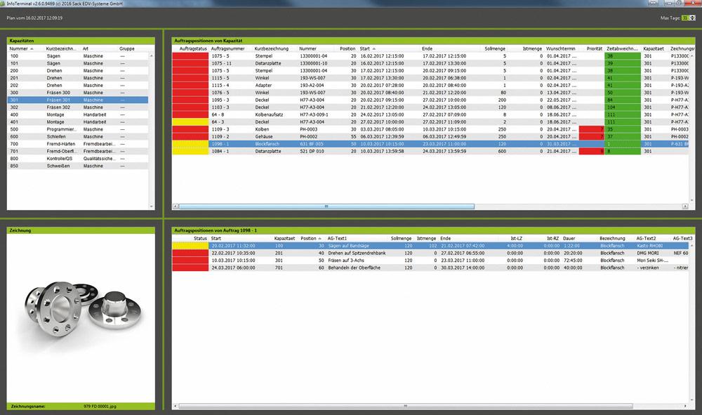 Der Infomonitor im System Promexs versorgt die Mitarbeiter in der Werkstatt online mit relevanten Produktionsdaten. Bild: Sack EDV-Systeme GmbH