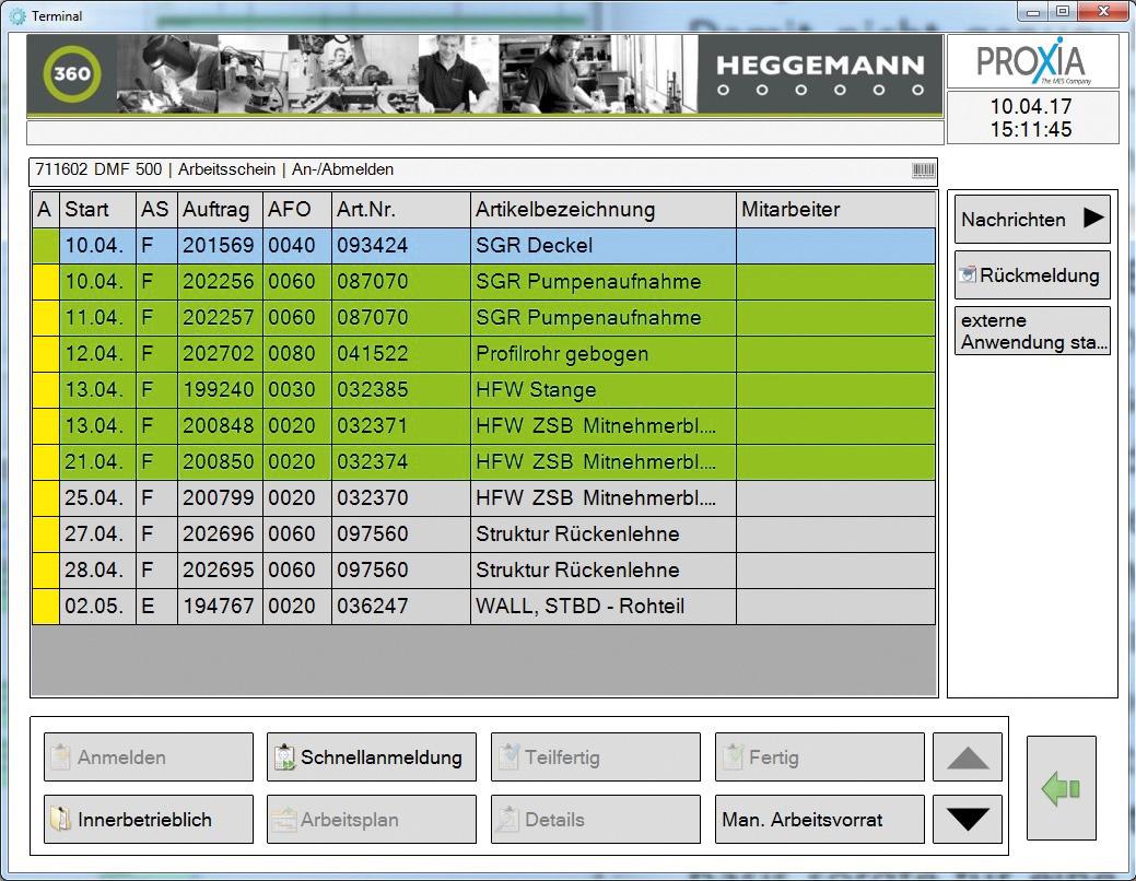 Erfassungsmaske der BDE-Software für die Feinplanung