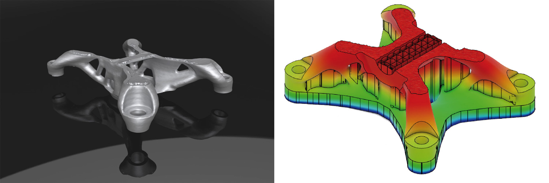 3D-Modell aus dem 3D-Druck und CAD-Modell Ansicht