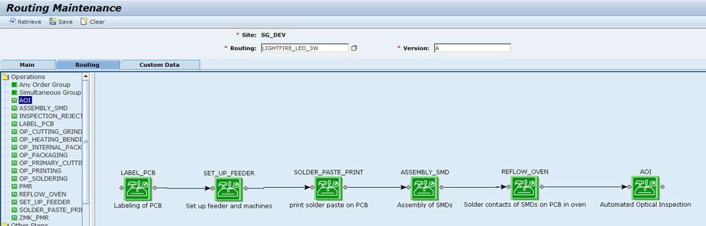 Über eine grafische Modellierung lassen sich detaillierte Arbeitspläne im SAP ME erstellen. (Bild: Trebing & Himstedt Prozeßautomation GmbH & Co. KG)