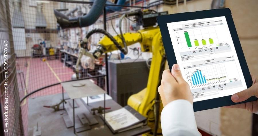 Tablet mit MES-Anwendung zur Energiedaten -Ansicht.