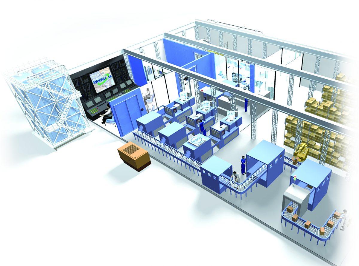 IT-Umgebung integrieren - 3D Ansicht einer Fabrik
