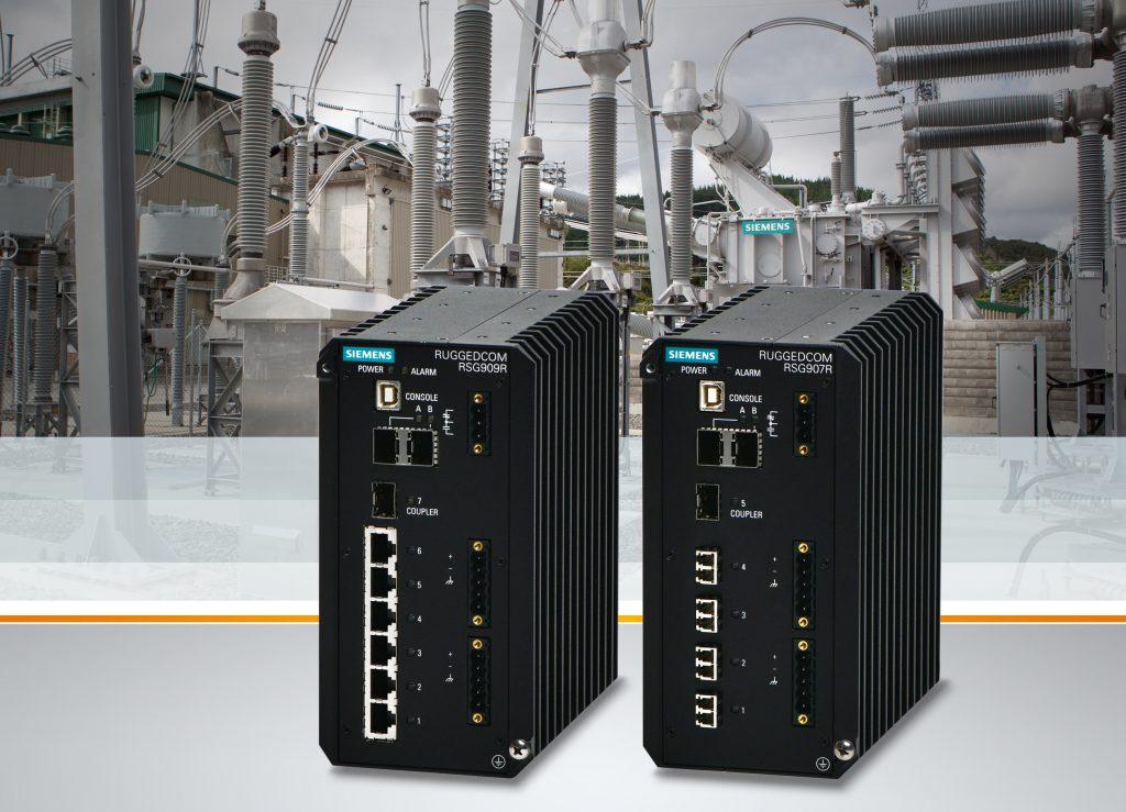 Die beiden Gigabit Ethernet Switches Ruggedcom RSG907R und RSG909R sind für den Einsatz in in der Stromversorgung und -erzeugung, im Transportwesen sowie in der Öl- und Gasbranche zugelassen. (Bild: Siemens AG)