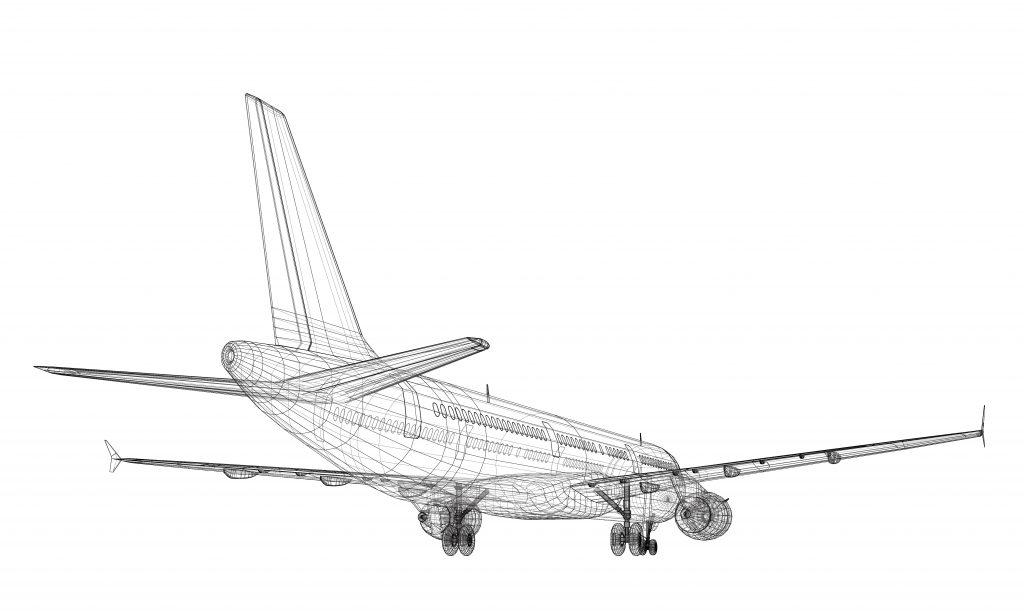 Kadenzen - Bild zeigt ein Gittermodell eines Jet Airliner