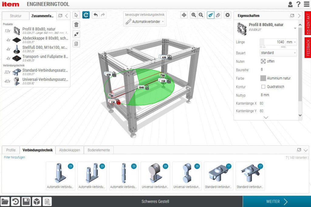 Das Engineeringtool erstellt alle notwendigen Zeichnungen, Montageanleitungen und Projektdokumentationen. (Bild: Item Industrietechnik GmbH)