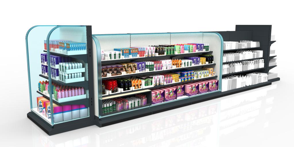 Ladenbau | CAD | PTC Creo | Digitaler Einzelhandel: Statt Papierschildern mit Informationen zur Ware und dem Preis werden immer öfter kleine Displays eingesetzt, die über ein Bussystem im Regal mit Daten und Strom versorgt werden. Außerdem gibt es Versuche mit Näherungssensoren, die 'spüren', wenn sich ein Kunde dem Regal nähert.