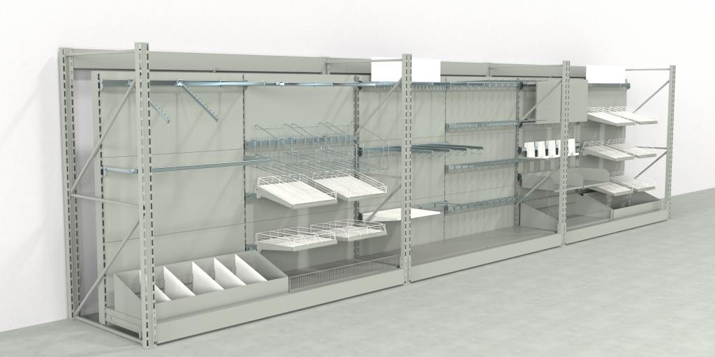 Ladenbau | CAD | PTC Creo | Die Regalaufbauten in Supermärkten ähneln sich oft weitgehend. Die Differenzierung findet in einer späteren Designphase etwa über die Wahl der Materialien, Farben und weiteren Ausstattung statt.