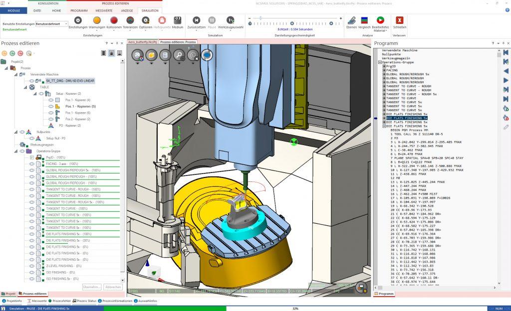 Digitale Zwillinge fürdie CNC-Fertigung: Durchgehende, vernetzte Prozesse bis zum fertigen Produkt: Grundlage ist die NC Simulation auf Basis der tatsächlichen Maschinendaten, basierend auf einer bidirektionalen Datenbank.