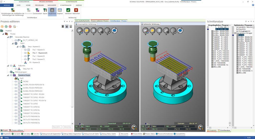 Digitale Zwillinge fürdie CNC-Fertigung: Die NC Simulation prüft nicht nur sicher auf Kollision, sondern kann im Rahmen einer weitergehenden Optimierung das NC Programm auch hinsichtlich Luftschnitte und Vorschub optimieren und eine schnellere Bearbeitung erzielen.