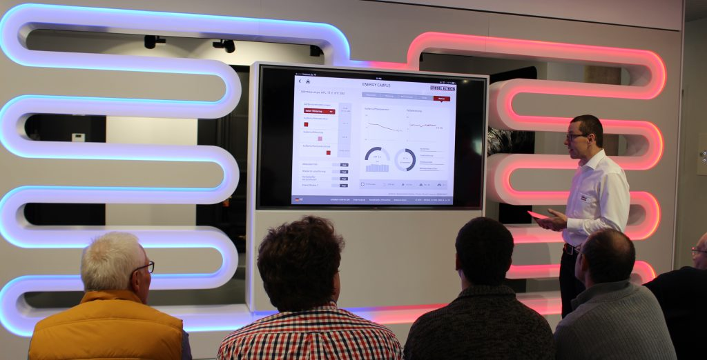 Bei Schulungen werden Systemdaten per Visiwin visualisiert und über das Tablet des Ausbilders auf dem TV-Bildschirm ausgegeben.