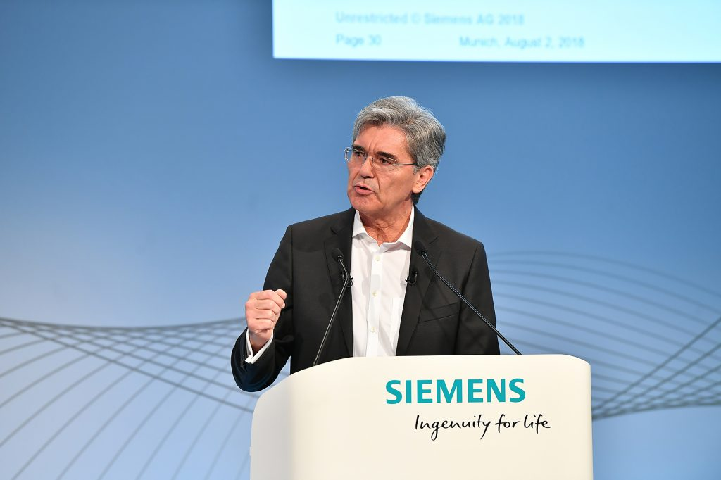 Joe Kaeser, CEO der Siemens AG, erläutert das neue Strategieprogramm Vision2020+ auf der Presse- und Analystenkonferenz am 2. August 2018 in München Joe Kaeser, President and CEO of Siemens AG, illustrates the new strategy programme Vision2020+ at the press and analyst conference on August 2, 2018 in Munich (Bild: Siemens AG)