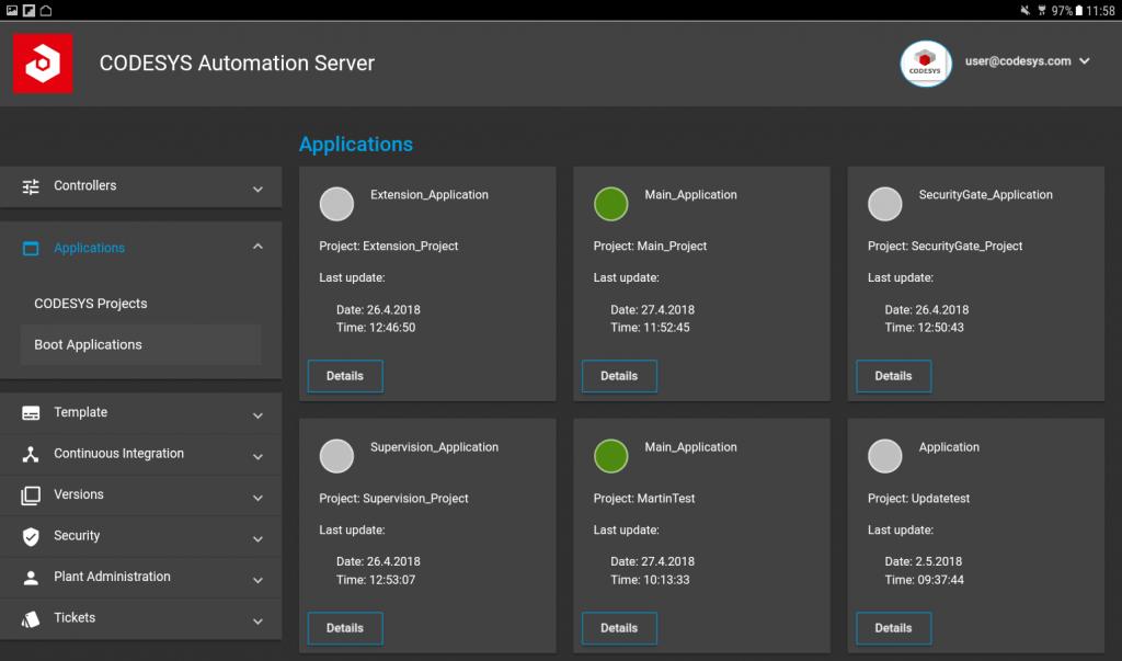Zentrale Verwaltung von Steuerungen und deren Steuerungsprojekten in einer Serverplattform, dargestellt in einer Web-Oberfläche. (Bild: 3S-Smart Software Solutions GmbH)