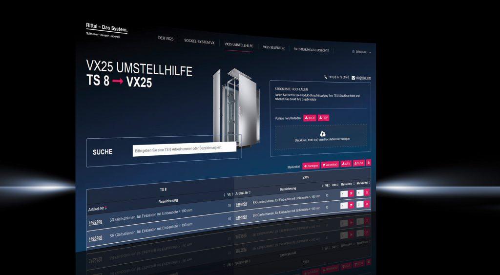 Mit einer digitalen Umstellhilfe für Stücklisten sowie einem intelligenten Selektor und Konfigurator erleichtert Rittal seinen Anwendern den Umstieg vom TS 8-Schaltschranksystem auf das neue Großschranksystem VX25. (Bild: Rittal GmbH & Co. KG)
