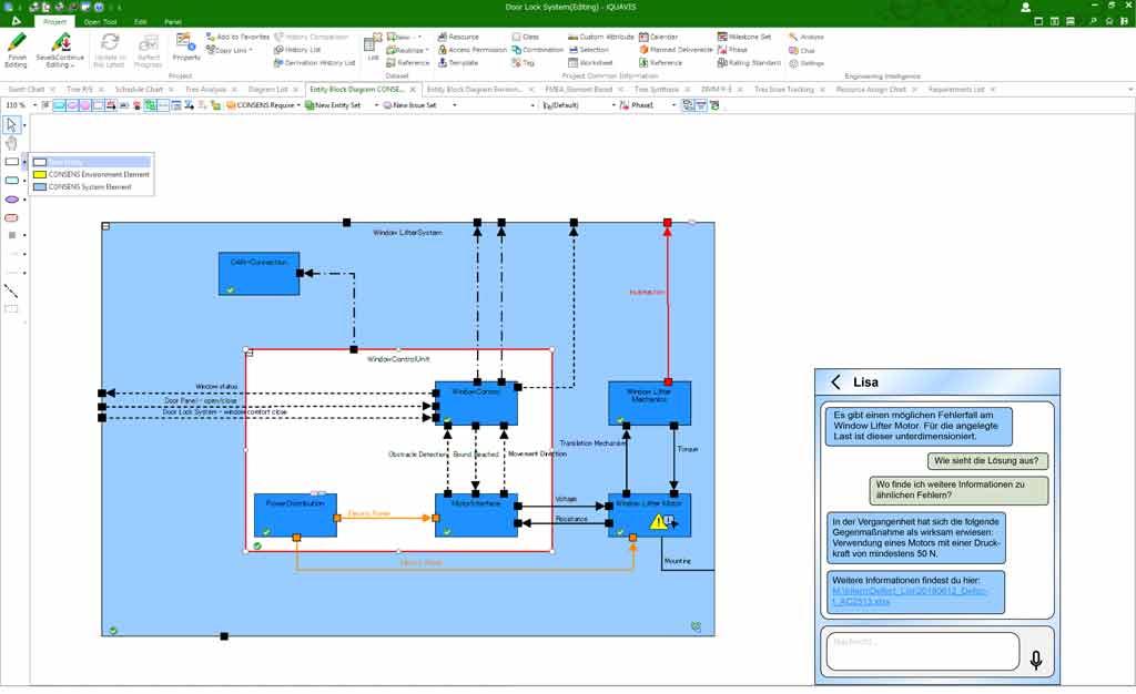 Bild 3 | Mock-up der Analyse eines Systemmodells mit einem Engineering Intelligence System und einem möglichen Chat-Verlauf.