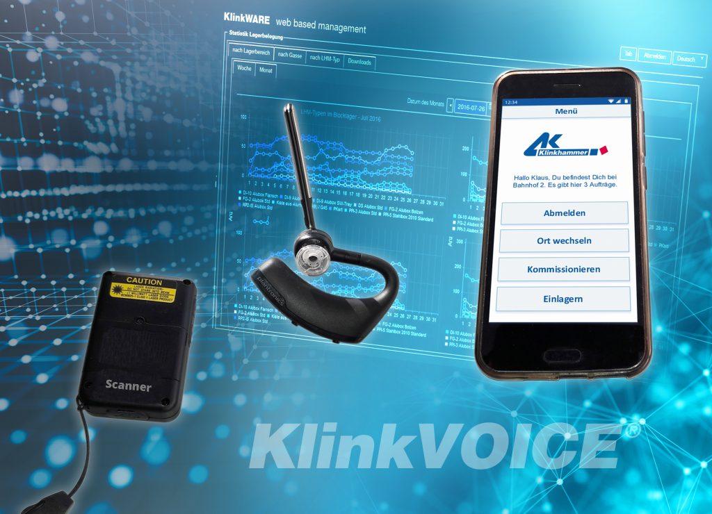 Das Multimedia-Kit aus App, Smartphone, Headset und Scanner kann teure Voice- und Handfunk-Terminals ersetzen. (Bild: Klinkhammer Intralogistics GmbH)
