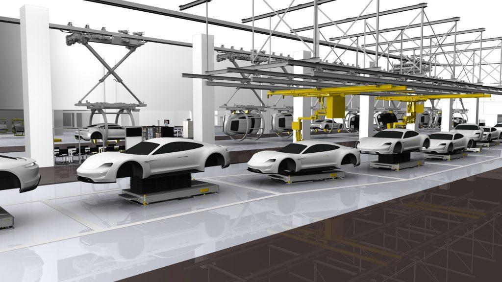 Porsche wird beim E-Fahrzeug Taycan erstmals FTS in der Serienproduktion im kontinuierlichen Fluss einsetzen. (Bild: Porsche AG)