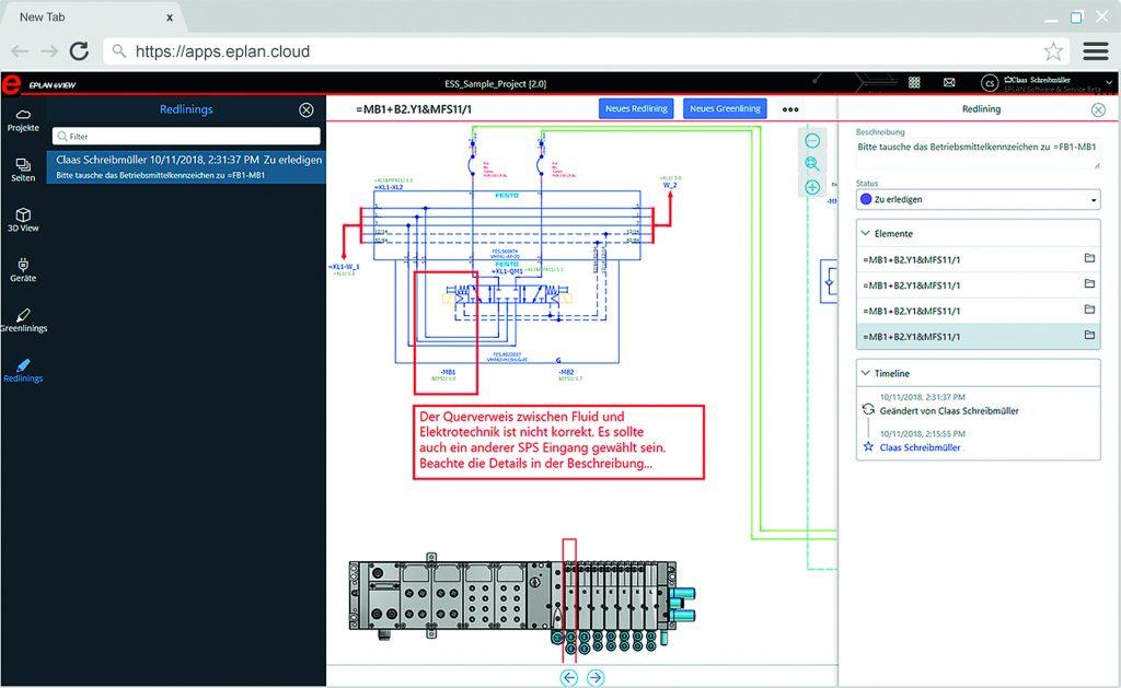 Eplan eView ermöglicht einen cloudbasierten Redlining-Workflow zwischen Engineering und den nachgelagerten Prozessen. (Bild: Eplan Software & Service GmbH & Co. KG)
