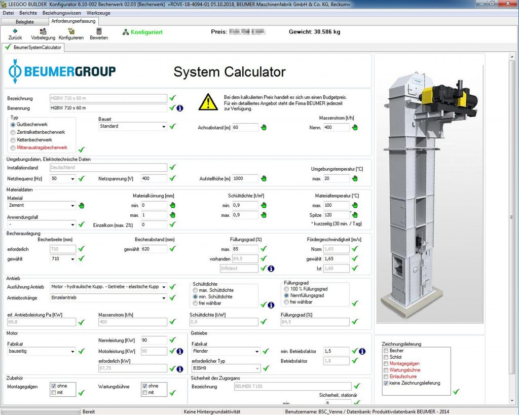 Die Software Leegoo Builder hilft bei Beumer, Angebote für komplexe Anlagen schnell und fehlerfrei zu erstellen. (Bild: Beumer Group)