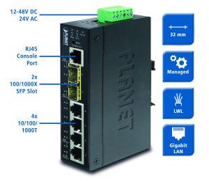 Der Switch stellt sechs GBit Ethernet-Ports (4x RJ45, 2x SFP) bereit. (Bild: Spectra GmbH & Co. KG)