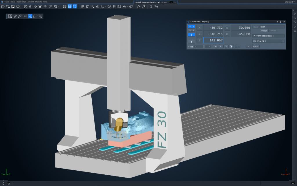 Virtuelle Maschine mit Bearbeitung eines Mastermodells - von diesem Frästeil wird später ein CFK-Tool abgeformt. (Bild: Tebis)