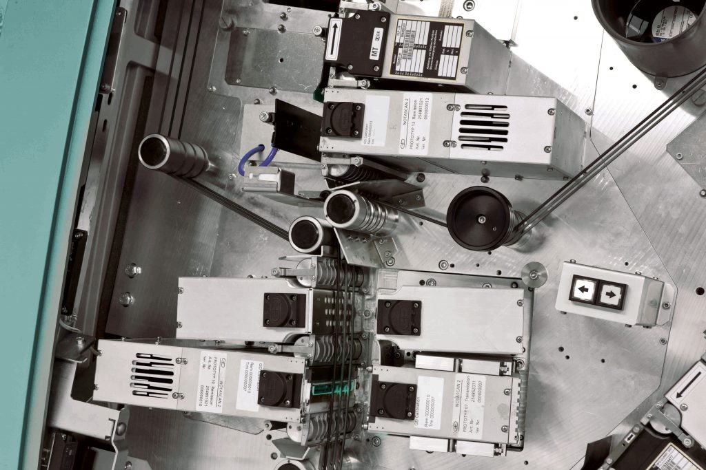 Teil des Sensorabschnitts mit einem Rundriemenfördersystem, das die Banknoten durch das Verarbeitungssystem transportiert. (Bild: Comsol Multiphysics GmbH)