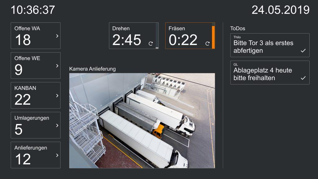 Mobile Boards für Staplerfahrer – inklusive SAP-, Counter- und Webcam-Daten. (Beispielscreen) (Bild: Peakboard GmbH)