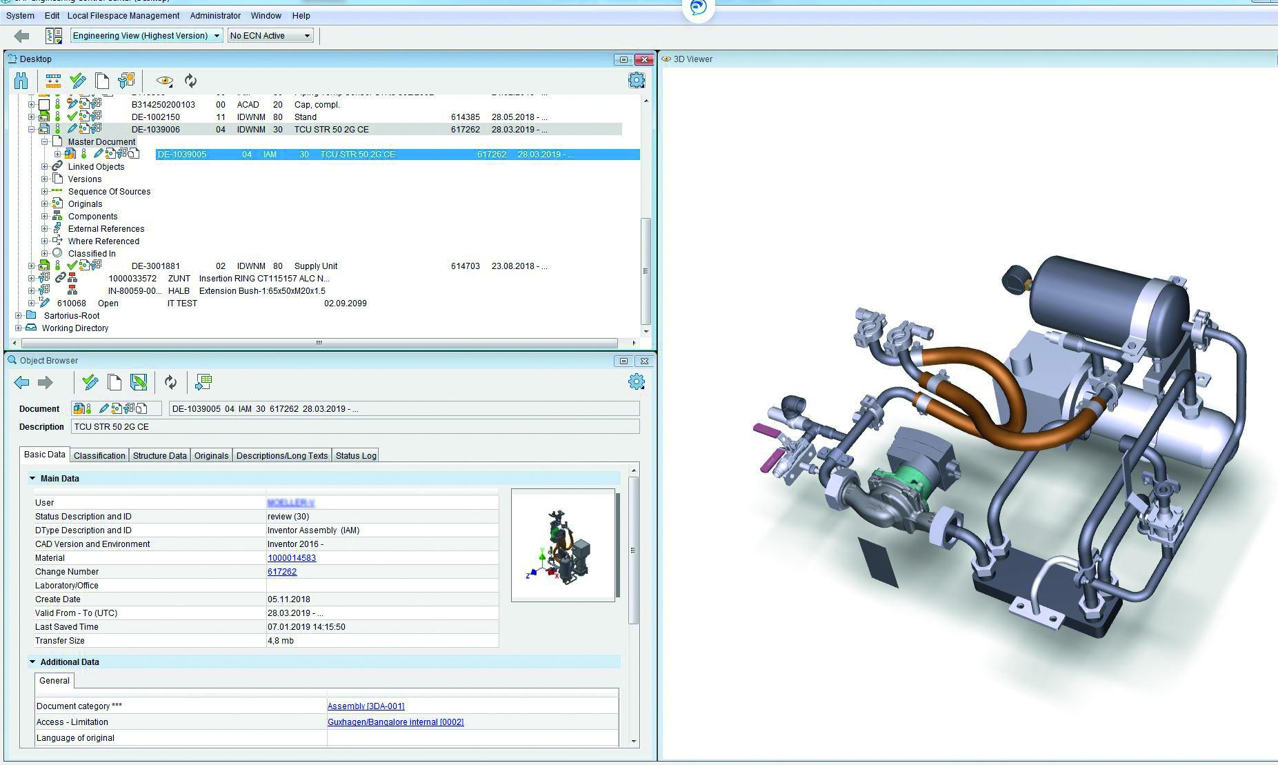 Eine Inventor-Baugruppe im integrierten 3D Viewer der SAP ECTR-Oberfläche. (Bild: Sartorius AG)