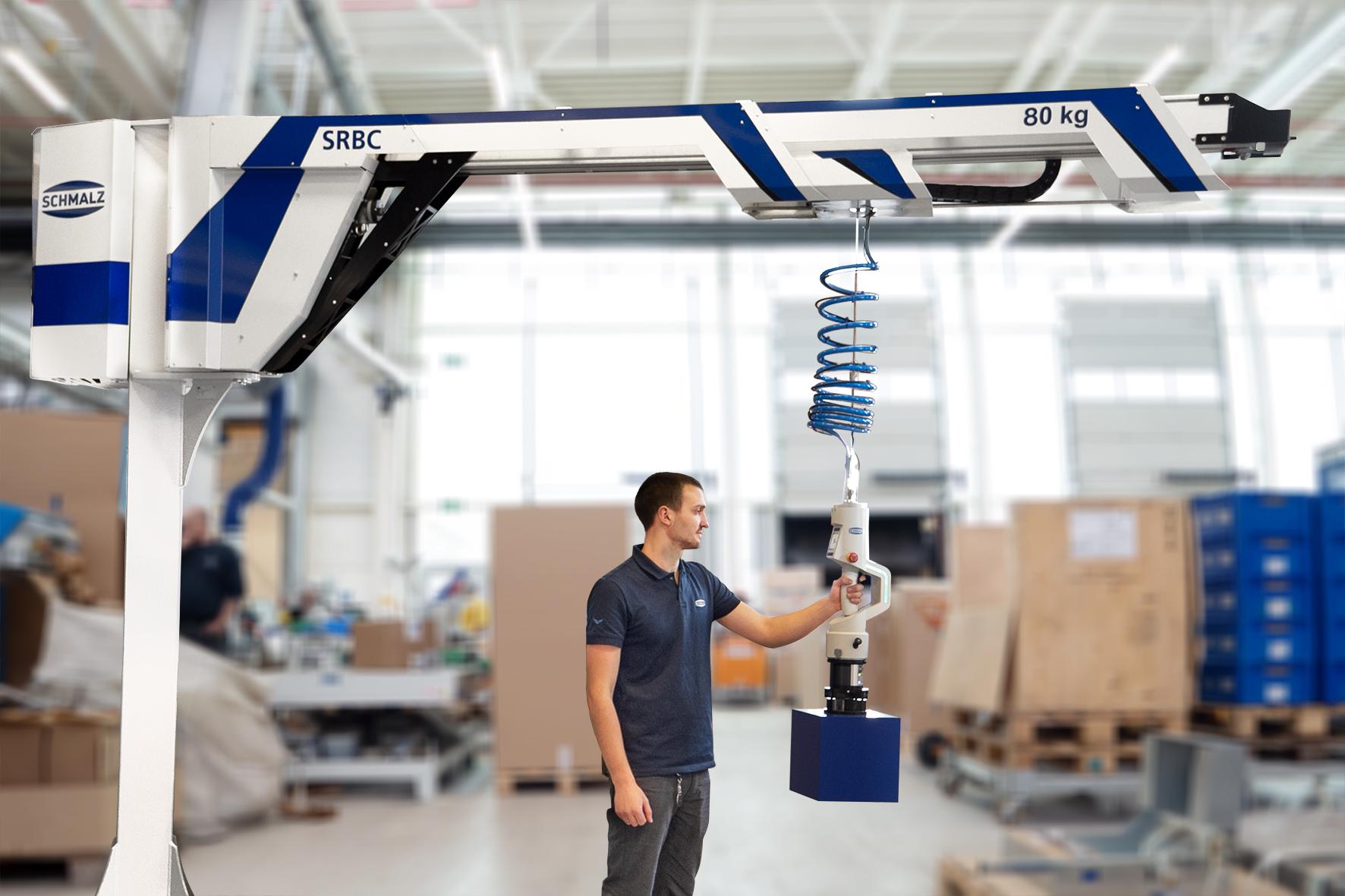 Schmalz hat mit dem kollaborativen Seilbalancer SRBC eine neue Klasse an Hebegeräten entwickelt, die von Grund auf für den Einsatz in der digitalen Produktionsumgebung ausgelegt ist. (Bild: J. Schmalz GmbH)