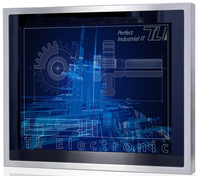 """Displaydiagonalen von 26,4cm (10,4"""", mit Bay Trail CPU) bis 54,6cm (21,5"""") mit projiziert-kapazitivem Multi-Touch-Screen stehen bei den Flat Stainless P-CAP IP65-Serien zur Auswahl. (Bild: TL Electronic GmbH)"""