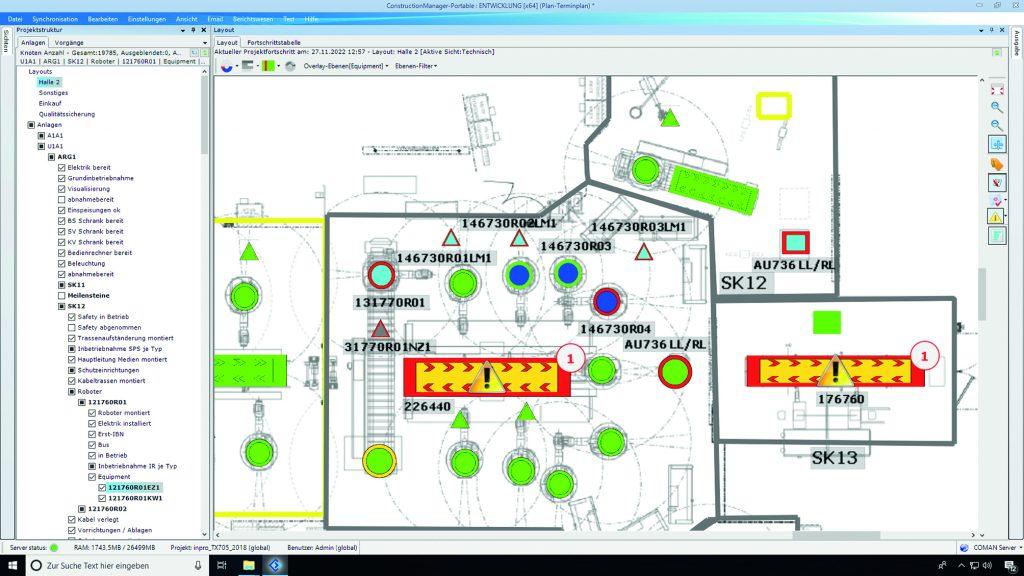 Smart Objects visualisieren den aktuellen Baufortschritt und mögliche Probleme. (Bild: Coman Software GmbH)