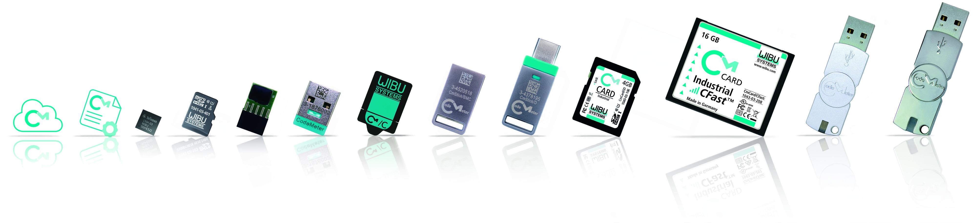 Die CodeMeter-Technologie gibt es in unterschiedlichen Ausführungen. (Bild: Wibu-Systems AG)
