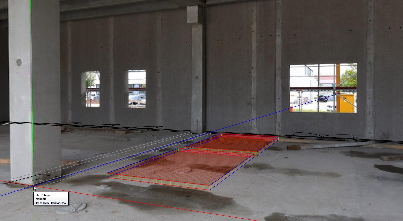 Durch die Überlagerung des Panoramabildes auf die Baupläne kann der Baufortschritt überwacht werden – auch wenn man nicht vor Ort ist. (Bild: Framence GmbH)