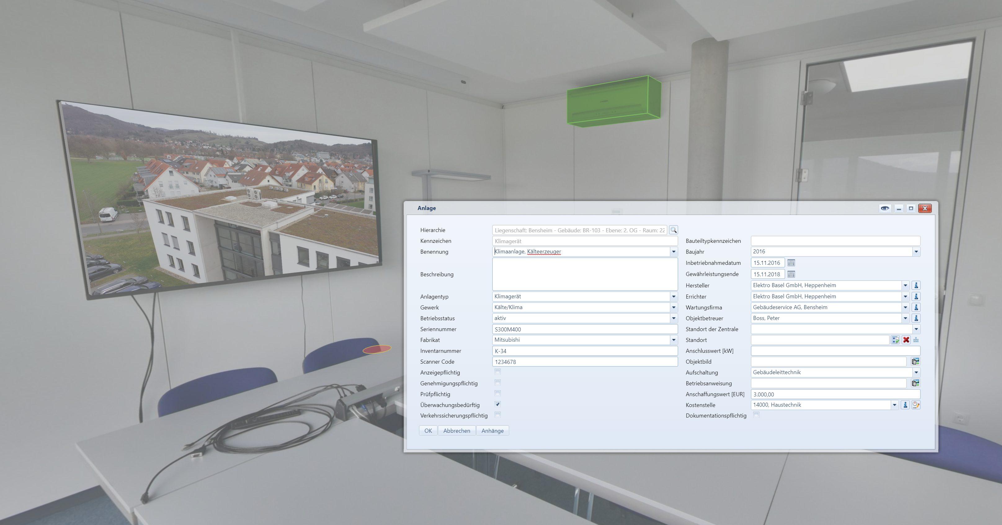 Informationen lassen sich in einer fotorealistischen Umgebung speichern. Vorhandene Datenbanken wie CAFM oder ERP können verknüpft werden. (Bild: Framence GmbH)