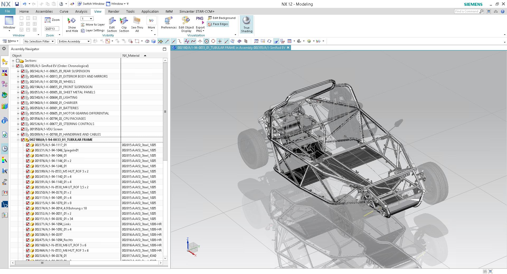 Produktstruktur in Siemens NX mit Werkstoffzuweisungen über Teamcenter IMM (Bild: Thinkstep AG)