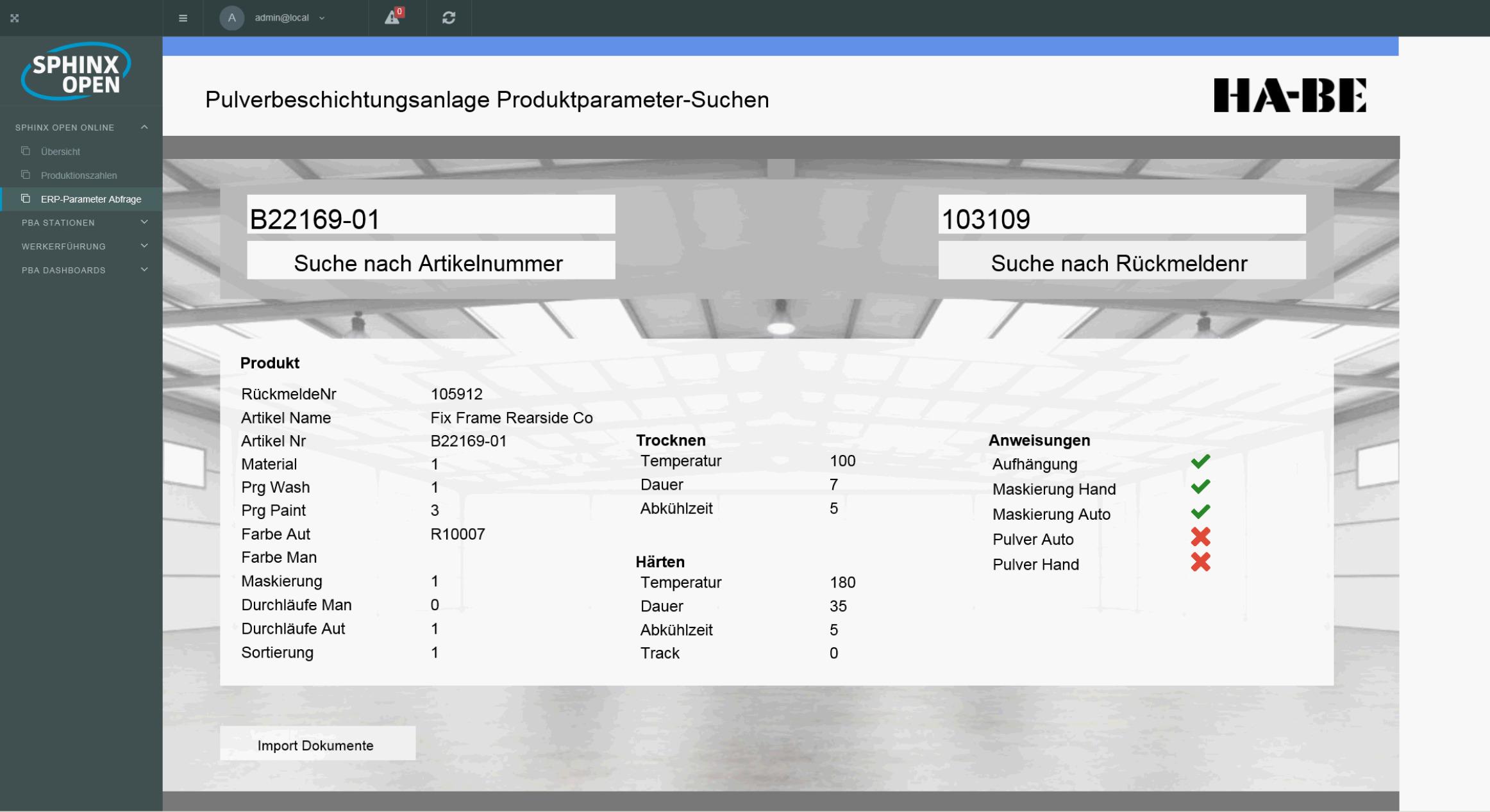Darstellung zur Überprüfung der eingepflegten Stammdaten. Neben der Anzeige der Produktparameter kann direkt überprüft werden, ob Anweisungen für die Werkerunterstützung für dieses Produkt verfügbar sind. (Bild: In-GmbH)