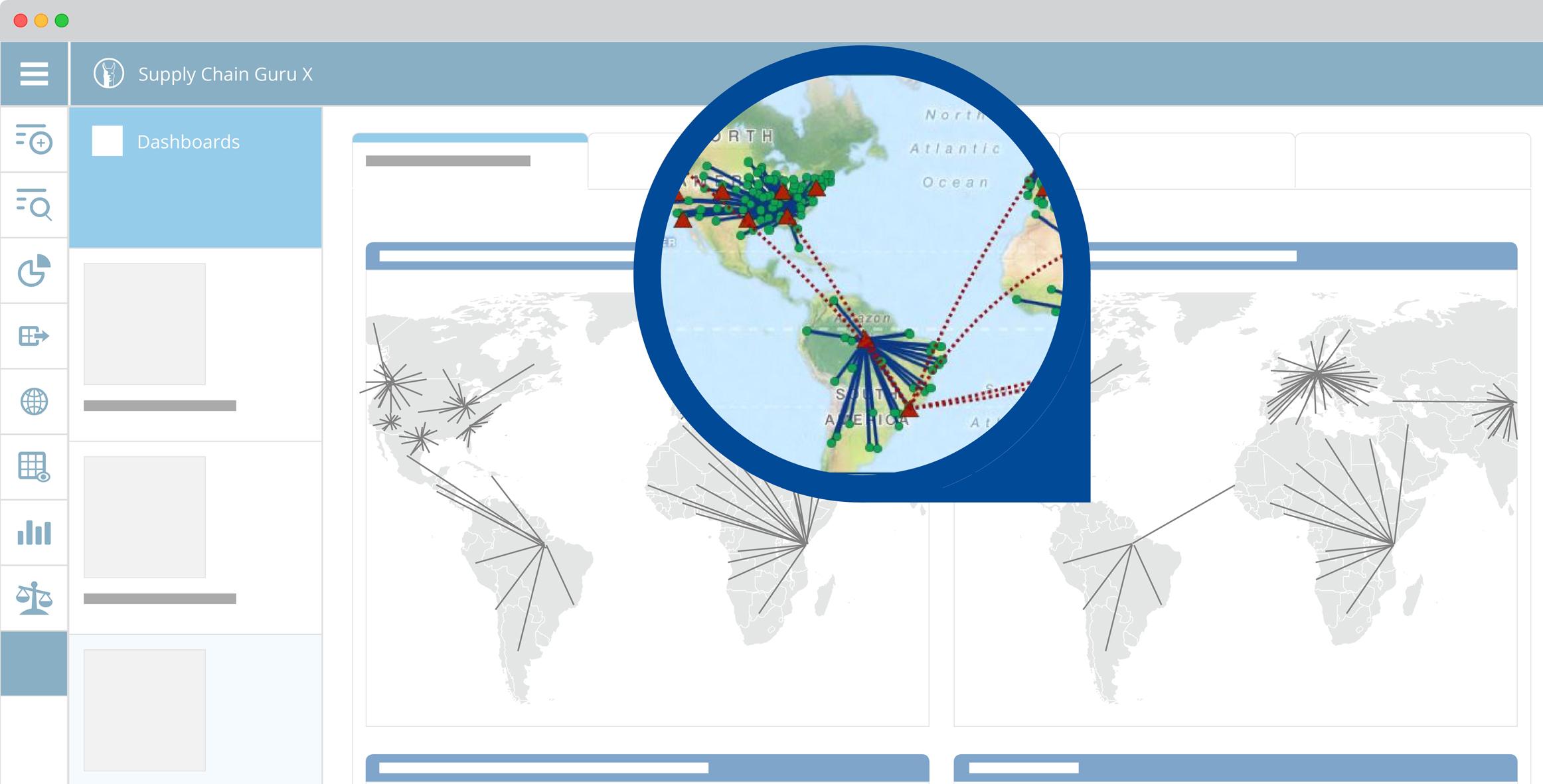 Eine graphische Benutzeroberfläche hilft, komplexe, globale Lieferketten übersichtlich darzustellen. (Bild: LLamasoft Deutschland GmbH)