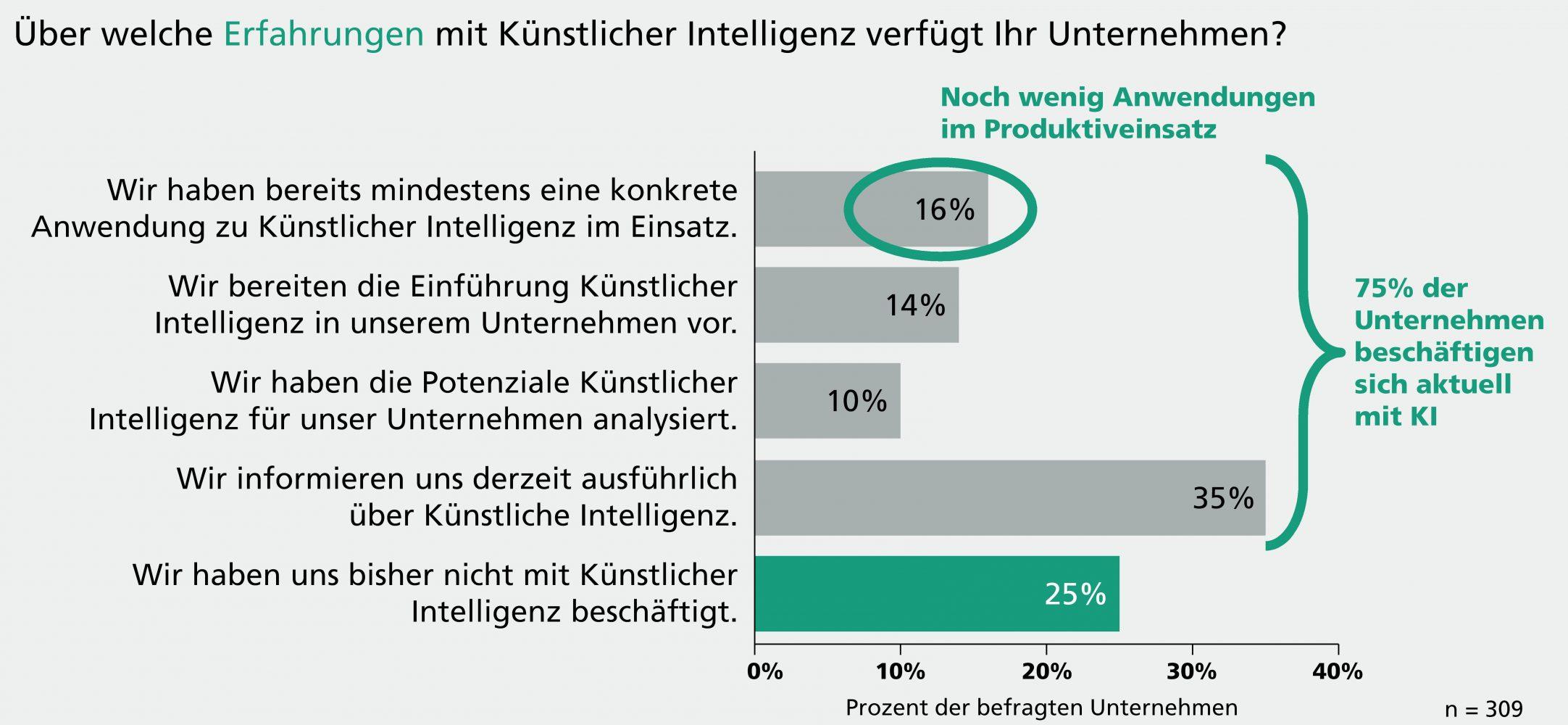 Ein Großteil der Unternehmen beschäftigt sich mit KI: Konkrete Anwendungen sind jedoch noch wenig im Einsatz. (Bild: Fraunhofer-Institut f. Arbeitswirtschaft)