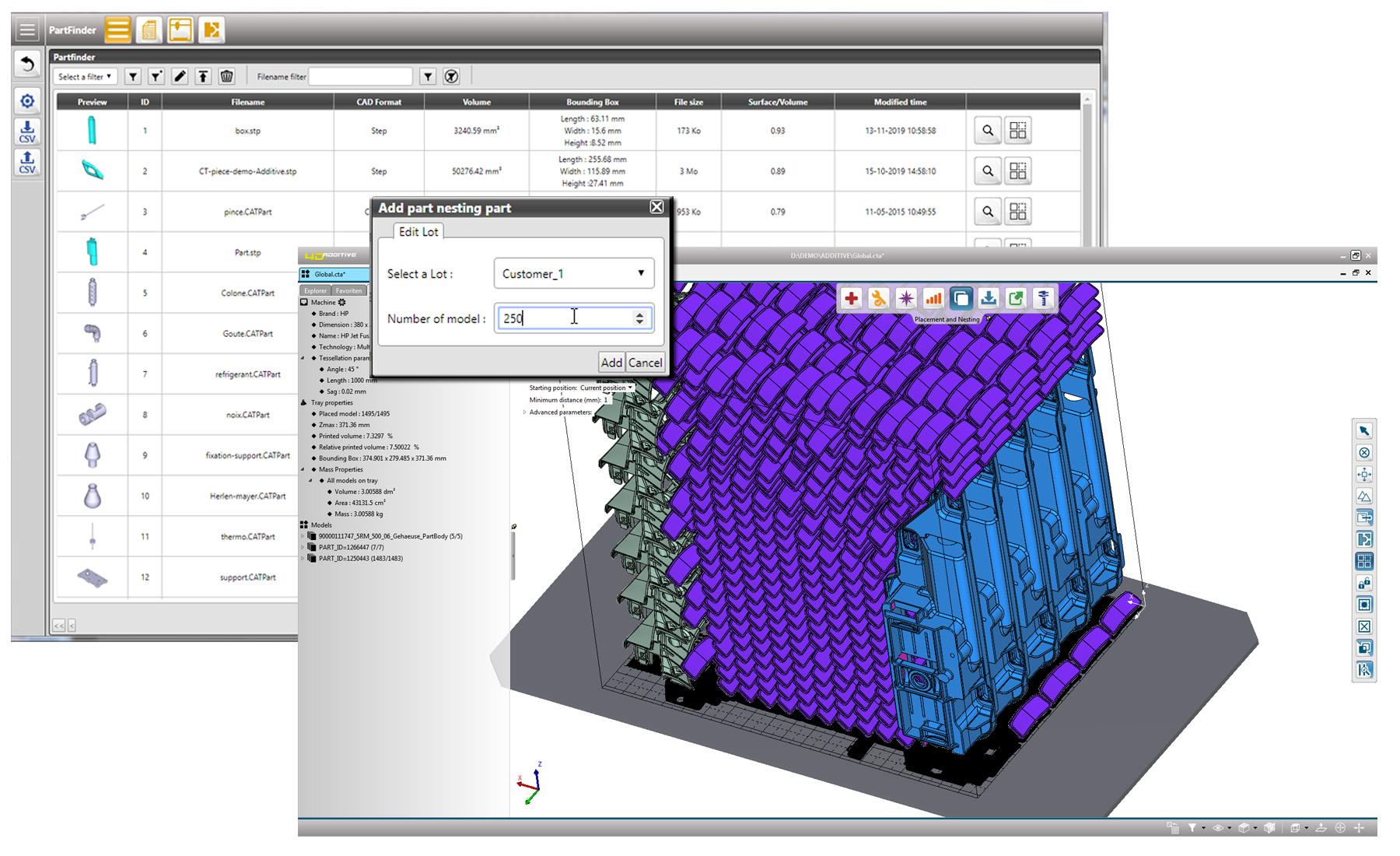 Die Software 4D_Additive ermöglicht einen automatischen Nestingprozess als Webservice. (Bild: CT CoreTechnologie GmbH)