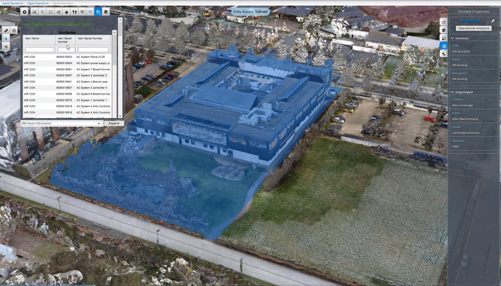 Der digitale Zwilling von West Cambridge wurde erstellt, um die Auswirkungen von digitalen Zwillingen auf Städteebene für die Verwaltung und Produktivität von Infrastruktur zu demonstrieren. (Bild: Bentley Systems Germany GmbH)