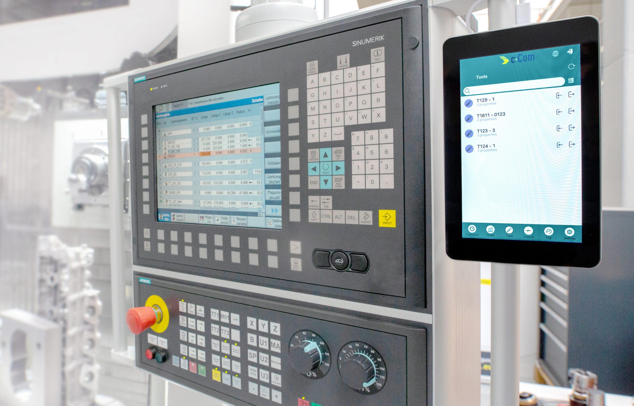 Mit C-Connect und der dazugehörigen Box hat C-Com eine Lösung entwickelt, um Messdaten direkt vom Einstellgerät an die Maschine zu übertragen. (Bild: Mapal Fabrik für Präzisionswerkzeuge)