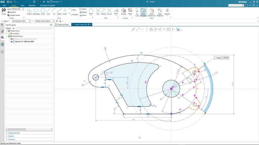 Siemens NX soll Tangenten und andere Konstruktionsbeziehungen erkennen. (Bild: Siemens Industry Software GmbH)