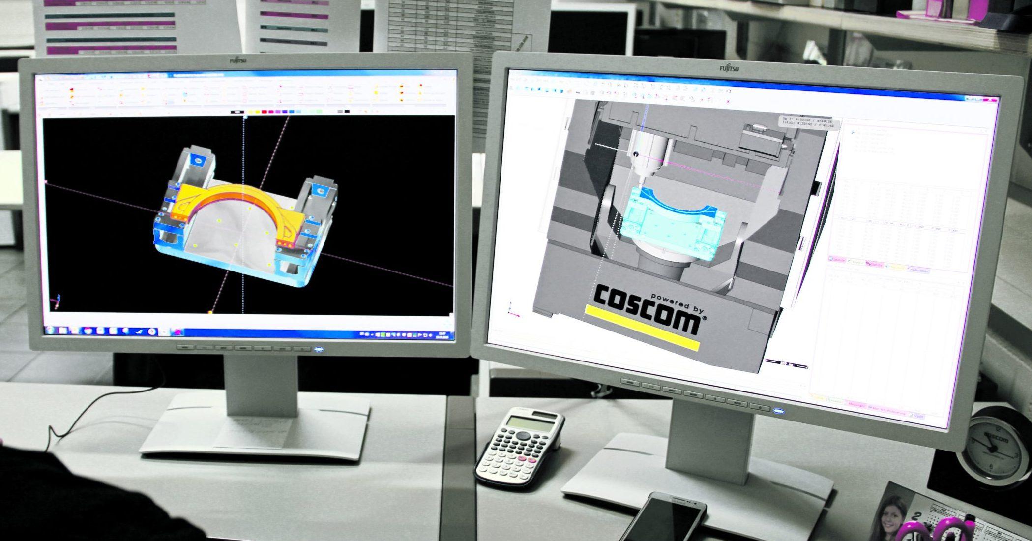 Die Programmierzeit eines komplexen Bauteils hat sich mit aktueller 3D-Programmierung von zwölf auf zwei Wochen reduziert. Die Maschinensimulation Profi Kinematik VM sichert das Programmierergebnis im Virtual-Machining-Konzept ab. (Bild: Coscom Computer GmbH)