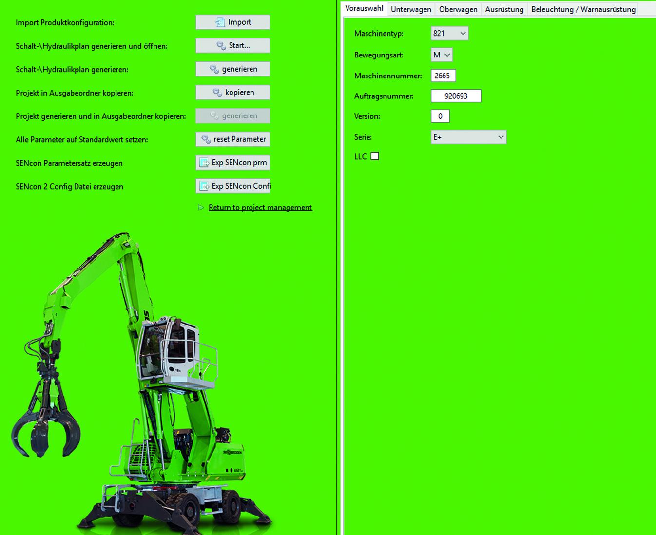 Nach dem Import der Konfigurationsdaten kann der Konstrukteur per Mausklick die Schalt- und Hydraulikpläne generieren. (Bild: Sennebogen Maschinenfabrik GmbH)