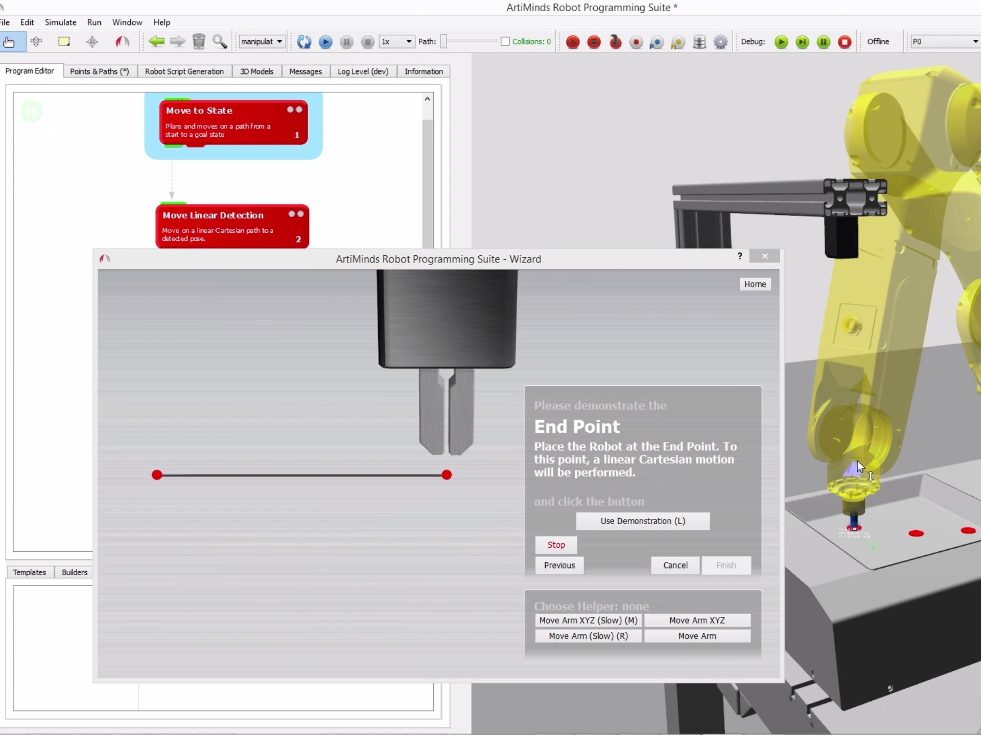 Intuitive Programmierung via Drag and Drop von Templates und Wizard-gestützte Parametrisierung (Bild: ArtiMinds Robotics GmbH)