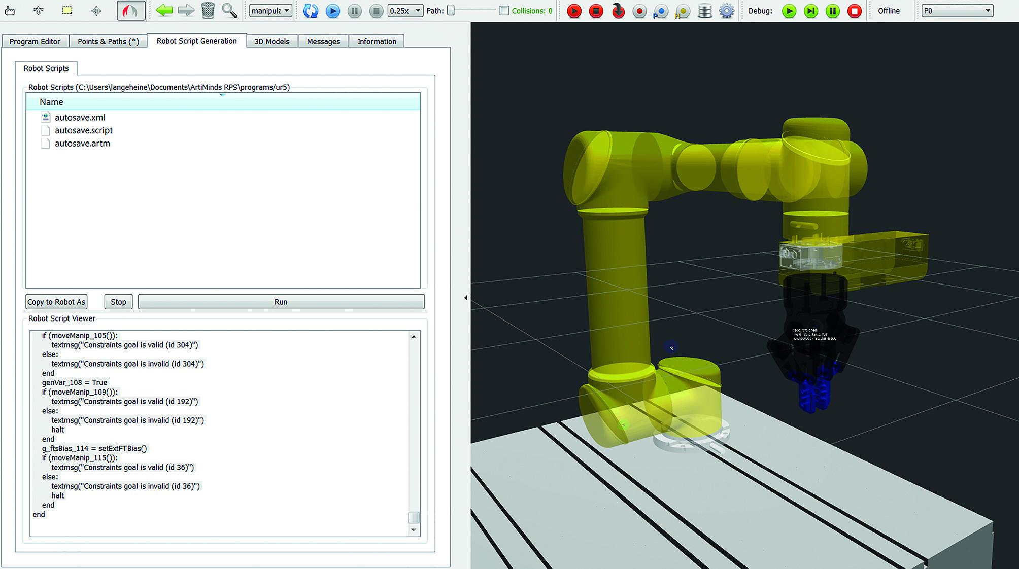 RPS generiert nativen Robotercode, der unabhängig von der Software auf dem Robotercontroller läuft. (Bild: ArtiMinds Robotics GmbH)