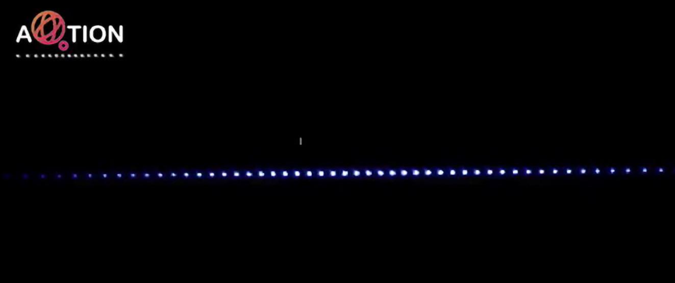 Quantenregister von 55 Ionen im Labor der Leopold-Franzens-Universität Innsbruck (Bild: Aqtion-Projekt)