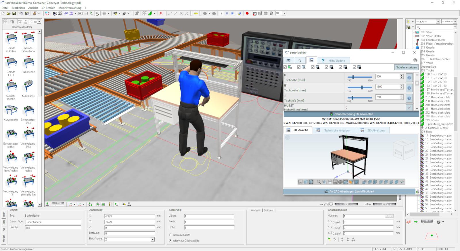 Zugriff auf Millionen Teile: Das Planungstool TaraVRbuilder verwendet online-Kataloge von Cadenas. (Bild: tarakos GmbH)