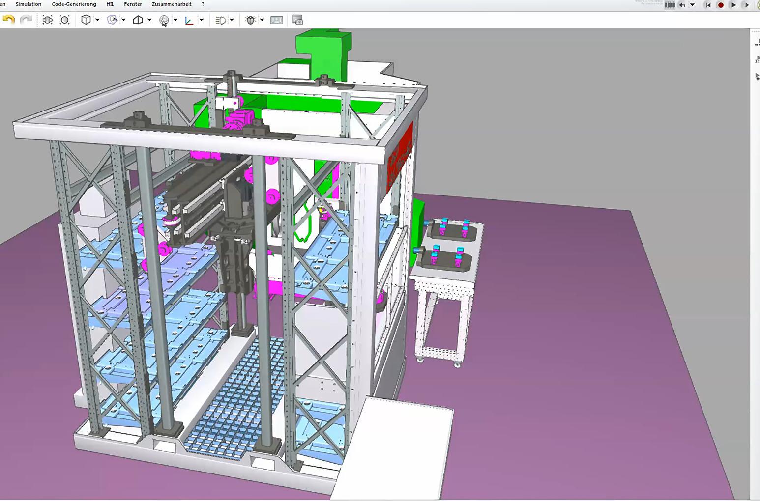 Simulationsmodell einer Multi-Handling-Anlage (Bild: Somic Verpackungsmaschinen GmbH & Co. KG)